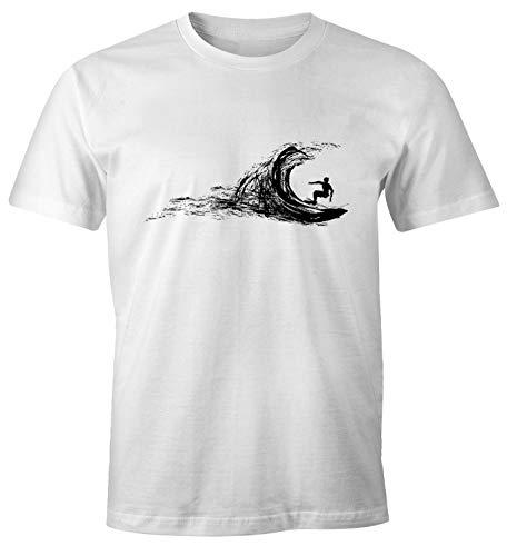 Neverless Herren T-Shirt Surfer Surfing surfen Surfboard Wave Welle Wellenreiten Urlaub Meer Ozean Surfer Boy Silhouette Slim Fit weiß M