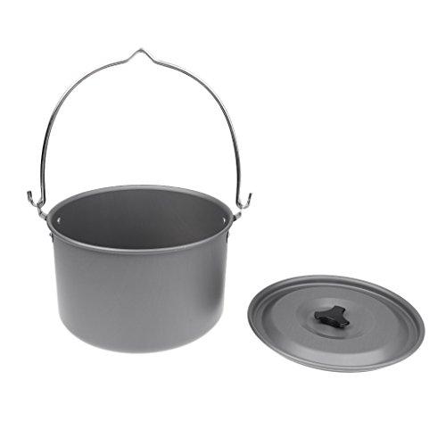 MagiDeal Grand Casserole Pot Suspendu Bouilloire Ustensiles de Cuisson en Aluminium Rigide Pour 6-8 Personnes Pique-nique