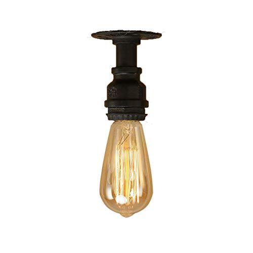 Lampes Tube d'Eau Plafonnier Industrielle E27 Edison Vintage en Métal Couloir éclairage pour Chevet Cafe Lampe de Nuit de Studio Porte Chambre. (Noir)