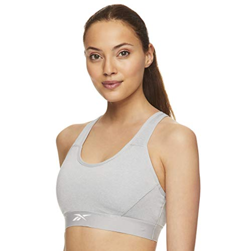 Reebok Women's Strappy Longline Sports Bra - Racerback High Impact Bralette w/Removable Cups - Grey Heather Challenger, X-Large