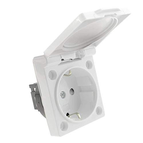 BeMatik - Steckdose Unterputz IP44 mit weisser Kappe Schrauben