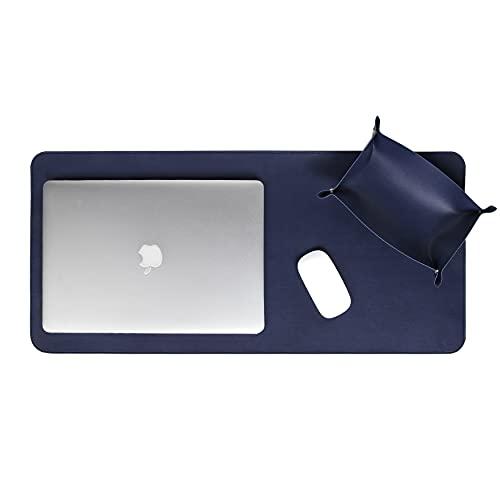 Skórzana mata/podkładka na biurko do biura i domowego biurka, ręcznie wykonana przez toskańskich artystów, granatowa (74 x 34 cm)