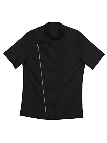 Hansber Men Chef Uniform Coat Zipper Collar Short Sleeve Cooking Jacket Hotel Kitchen Restaurant Outfits Black Large