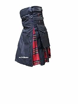 McWilliams Hybrid Modern Black Sports Utility Cotton Jeans Tartan Kilt  38 Hybrid Royal Stewart