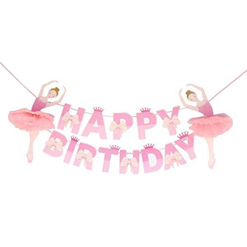 Amosfun banner de cumpleaños feliz cumpleaños bailarina empavesado de papel banner bailarín de ballet banner guirnalda suministros para fiestas para niños niños niñas