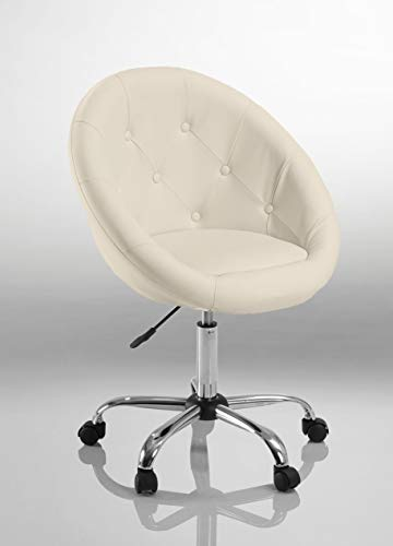 Drehstuhl Schreibtischstuhl Weiß Rollhocker mit Lehne Arbeitshocker Kosmetikhocker Duhome 0532