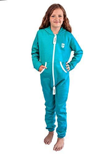 Gennadi Hoppe Kinder Jumpsuit Overall Jogger Trainingsanzug Mädchen Anzug Jungen Onesie,türkis,9-10 Jahre