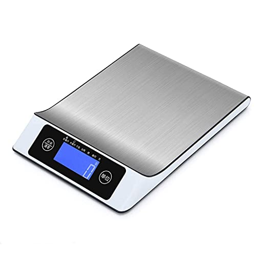 QZH Cuerpo de la báscula Báscula de Peso para cocinar Alimentos de Cocina, Acero Inoxidable 5 kg Capacidad 5000 g / 1 g Plano Delgado Diseño LCD Digital Electrónico Función Zero Peel 7 Unid