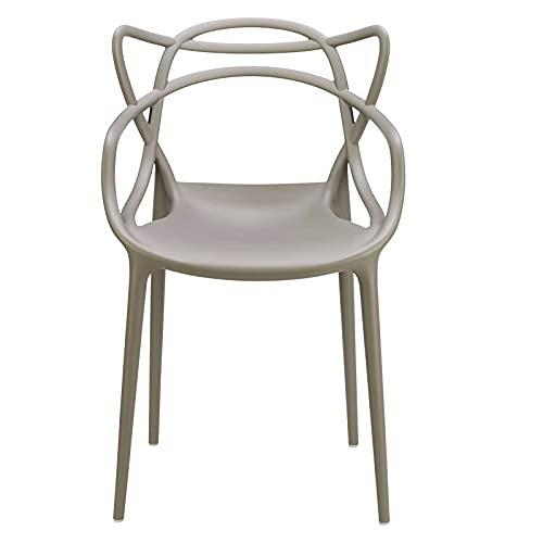 Sedia moderna Tortora, Set da 4 pz impilabili in Polipropilene Design moderno Uffico ristorante esterno Interno