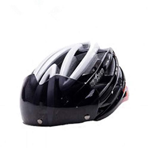 Pkfinrd Fahrradhelm abnehmbare Schutzbrille Sonnenblende Damen Herren Verstellbarer Komfort Sicherheit Fahrradhelm Outdoor-Sport Radfahren@Schwarz und weiß_Eine Größe