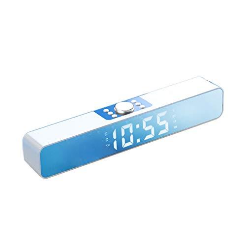 Mothcattl Mini Altavoz Inalámbrico Bluetooth 5,0 con Reloj Despertador, Tarjeta De Inserción, Barra LED Recargable, Reloj Despertador, Altavoz, Reproductor De Música para El Hogar Blanco
