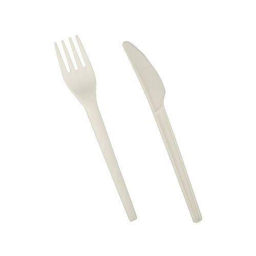 PAPSTAR 200 Bestecke, C-PLA Pure 16,6 cm Weiss - Natur (Messer, Gabel) 86946 Bio-Kunststoff umweltfreundlich Einweggabeln & Einwegmesser