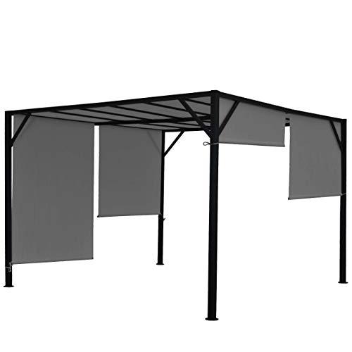 Mendler Pergola Baia, Garten Pavillon Terrassenüberdachung, stabiles 6cm-Stahl-Gestell + Schiebedach grau - 4x4m