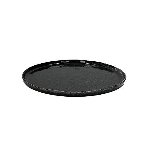 Van Well Experience - Juego de platos llanos (cerámica, 27 cm de diámetro, 4 unidades), color negro mate