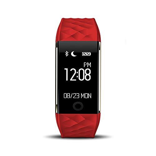 Redlemon Pulsera Inteligente Deportiva tipo Smartband Impermeable IP67, Podómetro, Monitor de Ritmo Cardiaco, Notificación de Llamadas, Mensajes y Redes Sociales, Compatible con iOS y Android. Rojo