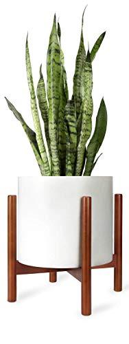 Mkouo Pflanzenstand Mitte des Jahrhunderts Wood Blumentopf-Halter Display Potted Rack Rustic, Up to 30cm Planter (Pflanzgefäß Nicht enthalten), Braun