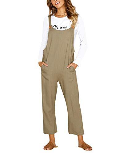 Cnfio - Peto holgado para mujer con bolsillos, estilo informal B-caqui S