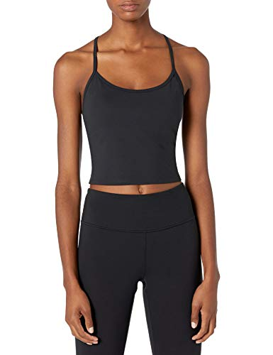 Amazon Brand - Core 10 Women's Spectrum Cropped Strappy Tank with Built-in Support Yoga Bra, Black, Medium
