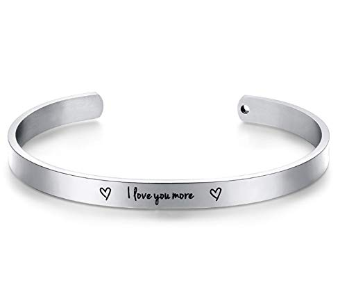 Beydodo Damen Armreif Edelstahl mit Spruch l Love You More Silber Armreifen Uhr für Damen Indisch