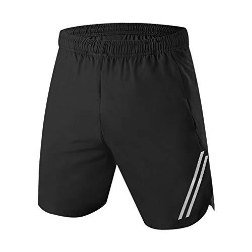 emansmoer Homme Quick Dry Training Fitness Running Sports Shorts Cycling Biking Athletic Short Pants Basketball Football(L, Black)