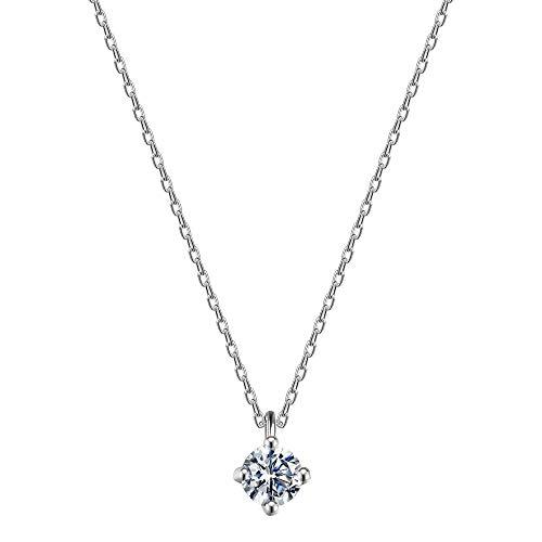 ネックレス レディース ネックレス ペンダント 一粒 CZダイヤモンド 金属アレルギー対応 925 シルバー ファッション ジュエリー 女性のプレゼント ボックス付き