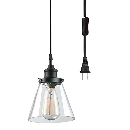 Jackson 1-Light Plug-in Pendant, Matte Black, Clear Glass Shade,65580