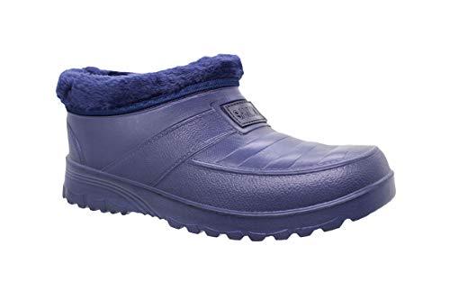 buyAzzo Botas de goma para hombre con forro cálido, zapatillas de estar por casa forradas, zuecos impermeables, zapatos de goma, zapatos de otoño e invierno, tallas 41-46, color Azul, talla 42 EU