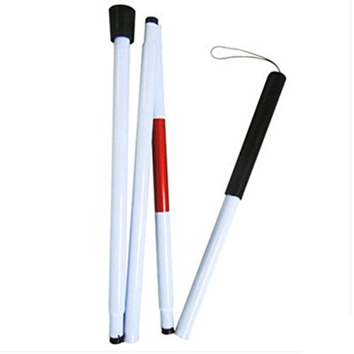 Rubyu - Bastón Largo para Ciegos, bastón Blanco, Ajustable, Bastones de Senderismo, Aluminio, Plegable con Mango de Caucho para Personas con discapacidad Visual, 125 cm 🔥