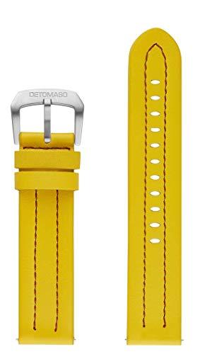 DETOMASO italienisches Lederarmband Firenze 22mm (Leder - Gelb)