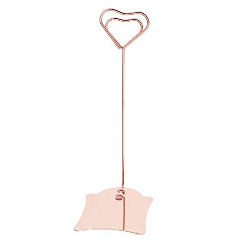 Sujetador De Clips De Forma De Corazón con Clip De Nota De Nota De Foto De Base para Mesa - Oro Rosa