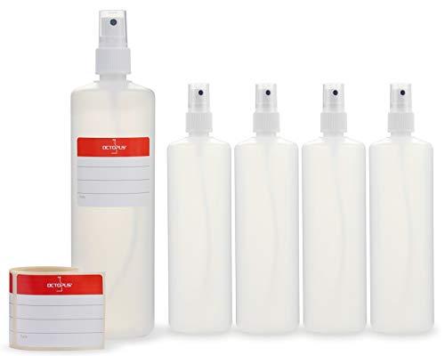 Octopus 5X 250 ml Sprühflaschen mit Fingerzerstäuber, Plastikflaschen mit Pumpsprüher, Kunststoffflaschen aus HDPE mit Zerstäuber, inkl. Beschriftungsetiketten