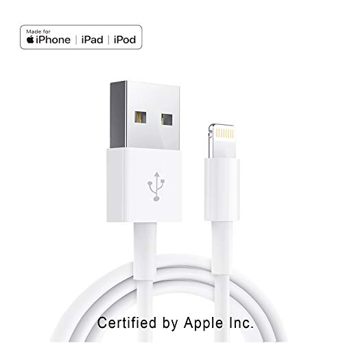 Apple iPhone/iPad Charging/Charger Cord Lightning to USB Cable[Apple MFi Certified] Compatible iPhone X/8/7/6s/6/plus/5s/5c/SE,iPad Pro/Air/Mini,iPod Touch(White 1M/3.3FT) Original Certified
