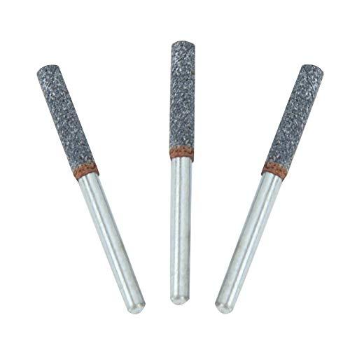 AUNMAS 3Pcs Burr Grinding Stone File, Diamond Chainsaw Sharpener 4mm 5/32 Inch Burr Stone File Sharpening Tool for Rotating Tool (Silver)