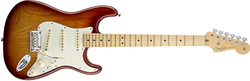 Fender E-Gitarre, Stratocaster, Griffbrett aus Ahorn, American Standard, Sunburst-P, 0113002700 Volle Größe Sienna Sunburst