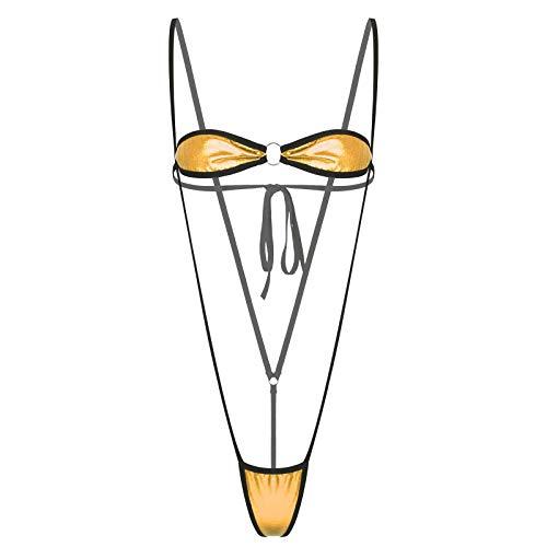 iixpin Damen 2tlg. Bikini Set Mirco Mini Badeanzug Monokini Schulterfrei BH Tube Top mit G-String Tanga Bikini Thong Frauen Erotik Sommer Strand Dessous Gold OneSize