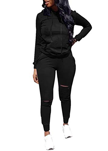 Women Casual Ripped Hole Pullover Hoodie Sweatpants 2 Piece Sport Jumpsuits Outfits Set (Black, XXL)