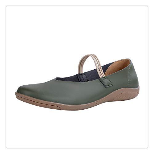 Aqiong Jichuo Fashion Leather Soft Bottom-Schuh-Frauen beiläufige PU-Wohnung mit Schuhen Frühling Neuer weiblicher Comfort Slip-on Soft-Leder-Schuhen Outdoor-Sportschuhe (Color : Green, Size : 36)