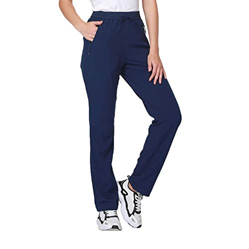 Women Cargo Hiking Pants Drawstring Quick Dry Pants Casual Lightweight Golf Travel Trousers Navy Blue