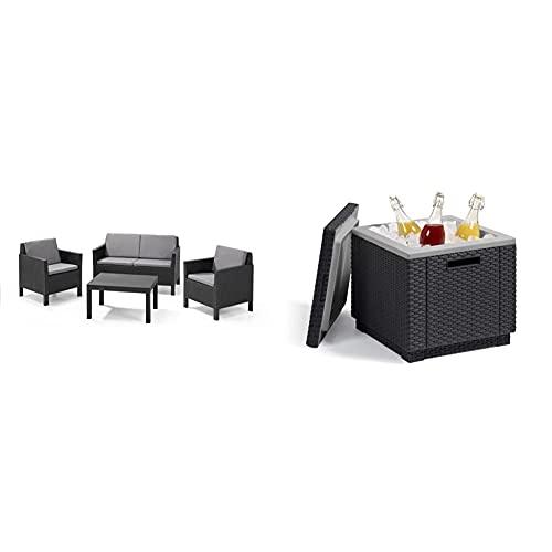 Keter - Conjunto De Jardín De 4 Plazas Chicago Lounge Con Cojines Incluidos, Color Grafito + Ice Cube Mesa Nevera Para Jardín, Grafito
