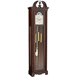 Howard Miller Princeton Floor Clock 611-138 – Lightly Distressed Hampton Cherry Grandfather Home Decor with Quartz, Triple-Chime Movement