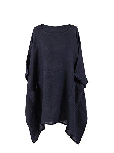 LushStyleUK Nowa damska włoska duży rozmiar jednolita lniana tunika bluzka damska lagenlook top plus size