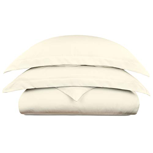 Cosy House Collection Luxury Bamboo Duvet Cover Set 3-Piece - Ultra Soft Hypoallergenic Bedding - Zippered Comforter Protector, Includes 2 Pillow Shams - Full/Queen - Cream
