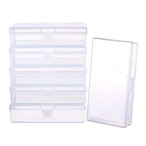 BENECREAT 6 Pack Clear Plastic Box Clear Storage Case Collection Organizer Container with Hinged Lid for Organizing Small Parts Office Supplies Clip - 5.2x3x1.18 Inches