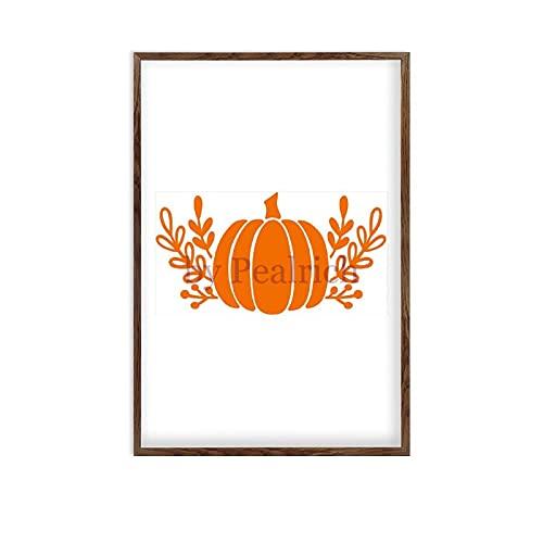 Scott397House Wood Framed Wall Art for Living Room, Pumpkin Garland Shape Rustic Farmhouse Wooden Signs Home Decor for Bedroom Nursery Dorm 8x12''