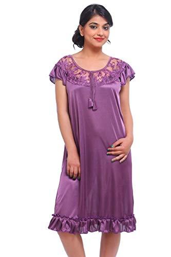 Fasense Women's Satin Dressing Gown (DP033A1_Purple_Medium)
