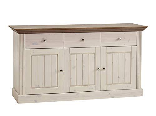Steens Monaco Sideboard, 3 Türen, 3 Schubladen, 145 x 78 x 46 cm (B/H/T), Kiefer massiv, Weiß / grau