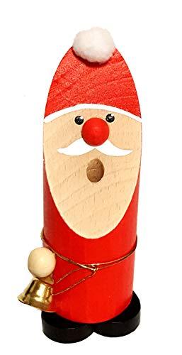 Hess Holzspielzeug 40015 - Räuchermann aus Holz, Weihnachtsmann mit Glöckchen, ca. 13 cm, Dekoration für die Advents- und Weihnachtszeit aus dem Erzgebirge