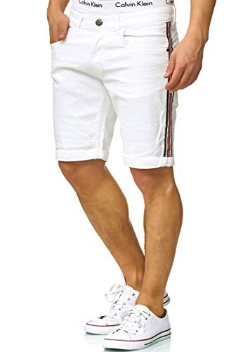 Indicode Herren Fife Jeans Shorts mit 5 Taschen aus 98% Baumwolle | Kurze Denim Stretch Sommer Hose Used Look Washed Destroyed Regular Fit Men Short Pants Freizeithose für Männer Offwhite L