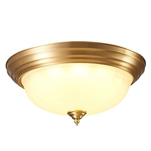 WFZRXFC Luz de techo de montaje empotrado interior con borde dorado retro americano Lámpara de techo con placa de techo de latón Con pantalla de vidrio esmerilado Iluminación de techo Adecuado para la