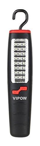 VIPOW Lampe d'atelier 24SMD + & LED avec bloc d'alimentation et chargeur voiture, support magnétique, plastique, noir, 21 x 4 x 4 cm